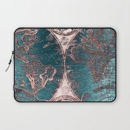 Antique World Map Pink Quartz Teal Blue by Nature Magick Laptop Sleeve