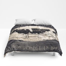 Vintage French Farm Sign Cow Comforters