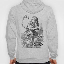 Vintage Alice in Wonderland flamingo croquet antique book drawing emo goth illustration art print  Hoody