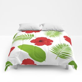 Red hibiscus and palm leaves seamless pattern. Comforters