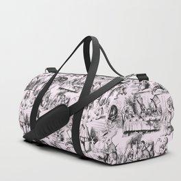 Alice in Wonderland   Toile de Jouy Pattern   Black   Pink   Vintage Pattern   Victorian Gothic   Duffle Bag