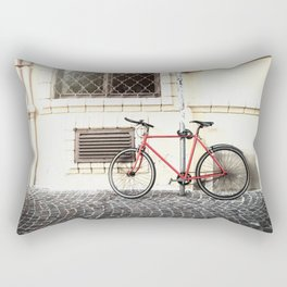 Bicycle standing on old street Rectangular Pillow