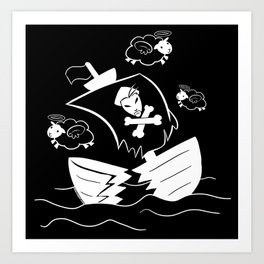 Holy Flying Sheep In A Shipwreck! (For Dark Products) Art Print