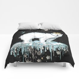 Polar bear with crown on ice floe Comforters
