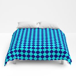 Cyan and Navy Blue Diamonds Comforters