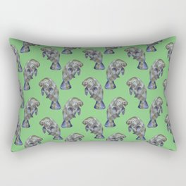 Watercolor Manatees on Muted Green Rectangular Pillow