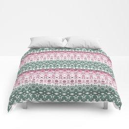 Green pink ornament Comforters