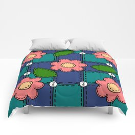 Retro Doodle Flower Style Quilt - Dark Blue and Green Comforters
