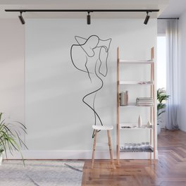 Lovers - Minimal Line Drawing 1 Wall Mural