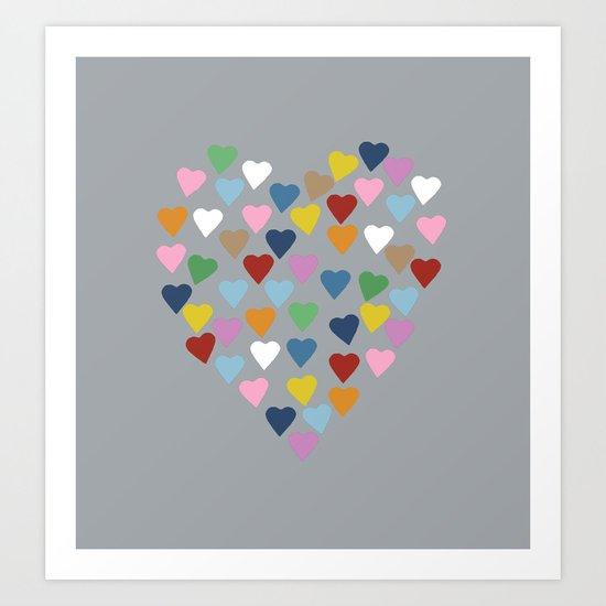 Hearts Heart Multi Grey Art Print