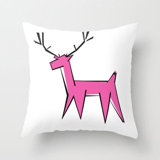 Pink deer  Throw Pillow