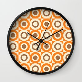 Mid Century Square and Circle Pattern 541 Orange and Brown Wall Clock