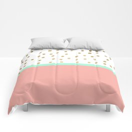 Coral teal color block faux gold foil polka dots pattern Comforters