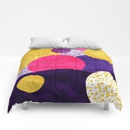 Terrazzo galaxy purple night yellow gold pink Comforters