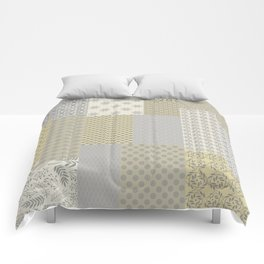 Modern Farmhouse Patchwork Quilt in Gray Marigold and Oatmeal Comforters