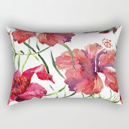 Tropical Background. watercolor tropical leaves and plants. Hand painted jungle greenery background Rectangular Pillow