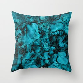 Blue Gemstone and Ink Malachite Glitter Marble Throw Pillow