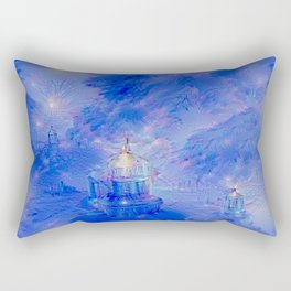 The Teapot Village - Blue Japanese Lighthouse Village Artwork Rectangular Pillow