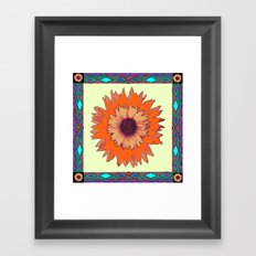 Southwest Sunflower with Moss Green Border Framed Art Print
