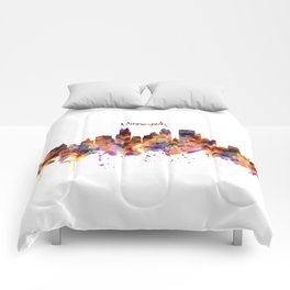 Minneapolis Watercolor Skyline Comforters