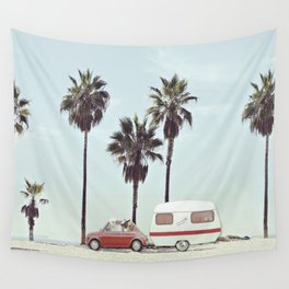NEVER STOP EXPLORING - CAMPING PALM BEACH Wall Tapestry