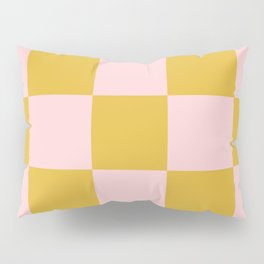 Classic Checkerboard Yellow Peach Lavellan Pillow Sham
