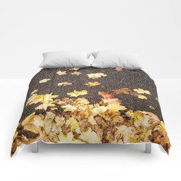 Gold yellow maple leaves autumn asphalt road Comforters