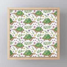 Tortoises and Flowers on white pattern Framed Mini Art Print