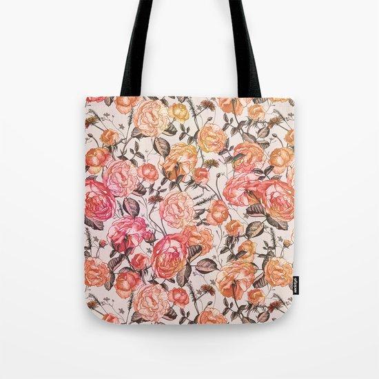 Vintage Floral Watercolor Pattern Tote Bag