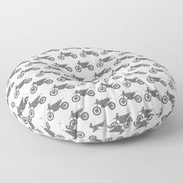 Grey Dirt Bikes Floor Pillow