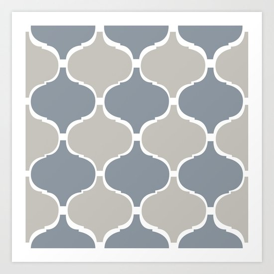 MARRAKECH PATTERN GreyBlue Art Print