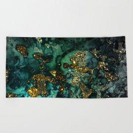 Gold Indigo Malachite Marble Beach Towel