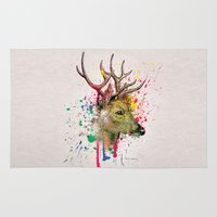 deer Area & Throw Rugs featuring deer by mark ashkenazi