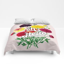 oh Hello vintage spring flowers Comforters