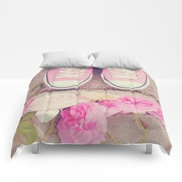 English Roses And Pink Chucks Comforters