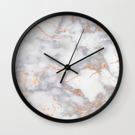 Grey Marble Rosegold  Pink Metallic Foil Style Wall Clock