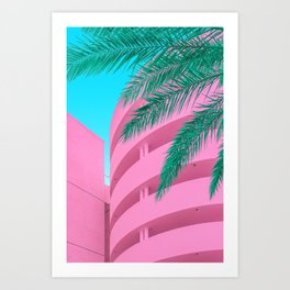 Pink Parking Garage with Green Palm Tree Art Print