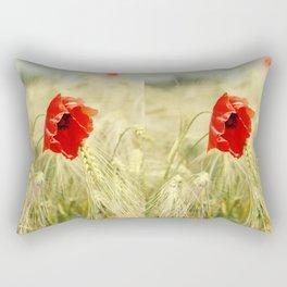 Poppy in the grain field Rectangular Pillow