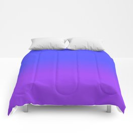 Neon Purple and Bright Neon Blue Ombré Shade Color Fade Comforters