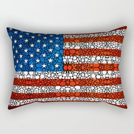 American Flag - USA Stone Rock'd Art United States Of America Rectangular Pillow