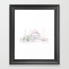Watercolor landscape illustration_India - Taj Mahal Framed Art Print