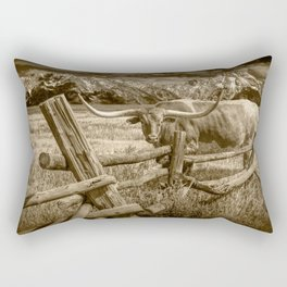 Texas Longhorn Steer by an Old Wooden Fence in Sepia Tone Rectangular Pillow