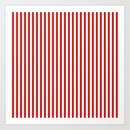 Red & White Maritime Vertical Small Stripes - Mix & Match with Simplicity of Life Art Print