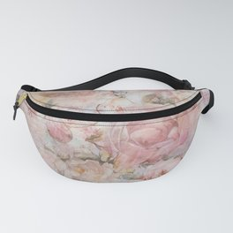 Vintage elegant blush pink collage floral typography Fanny Pack