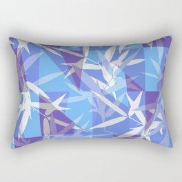 Bamboo in Blue Geometric Pattern Rectangular Pillow