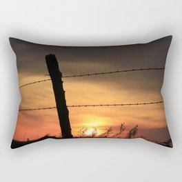 Kansas Sunset with fence Silhouette Rectangular Pillow