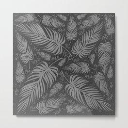 Leaves V1 GRAY Metal Print