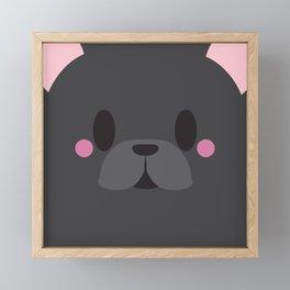 Black French Bulldog Block Framed Mini Art Print