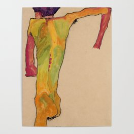"""Egon Schiele """"Male Nude, Propping Himself Up"""" Poster"""