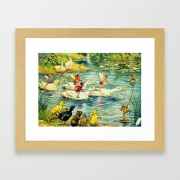 """""""Duck Racing in the Pond"""" by Margaret Tarrant Framed Art Print"""